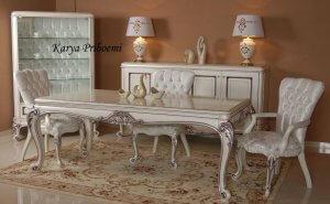 Set Meja Makan Saray Duco Putih, Meja Makan Putih, Meja Makan Warna Putih, Meja Makan Duco Putih