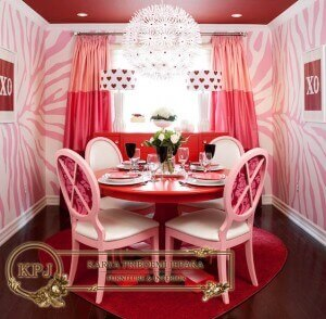 Set Meja Makan Vintage Pink