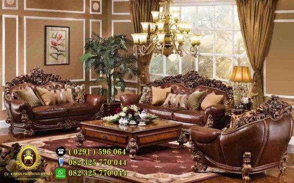 Kursi Tamu Mewah Waldorf Savana Model Klasik Eropa Ukiran Jati Jepara