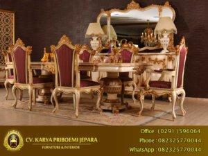 Meja Makan Ukiran Mewah Alexandra Furniture Jepara Terbaru KP 522