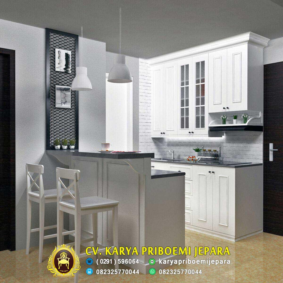 Harga Pantry Dapur Minimalis Duco Putih Modern Jepara