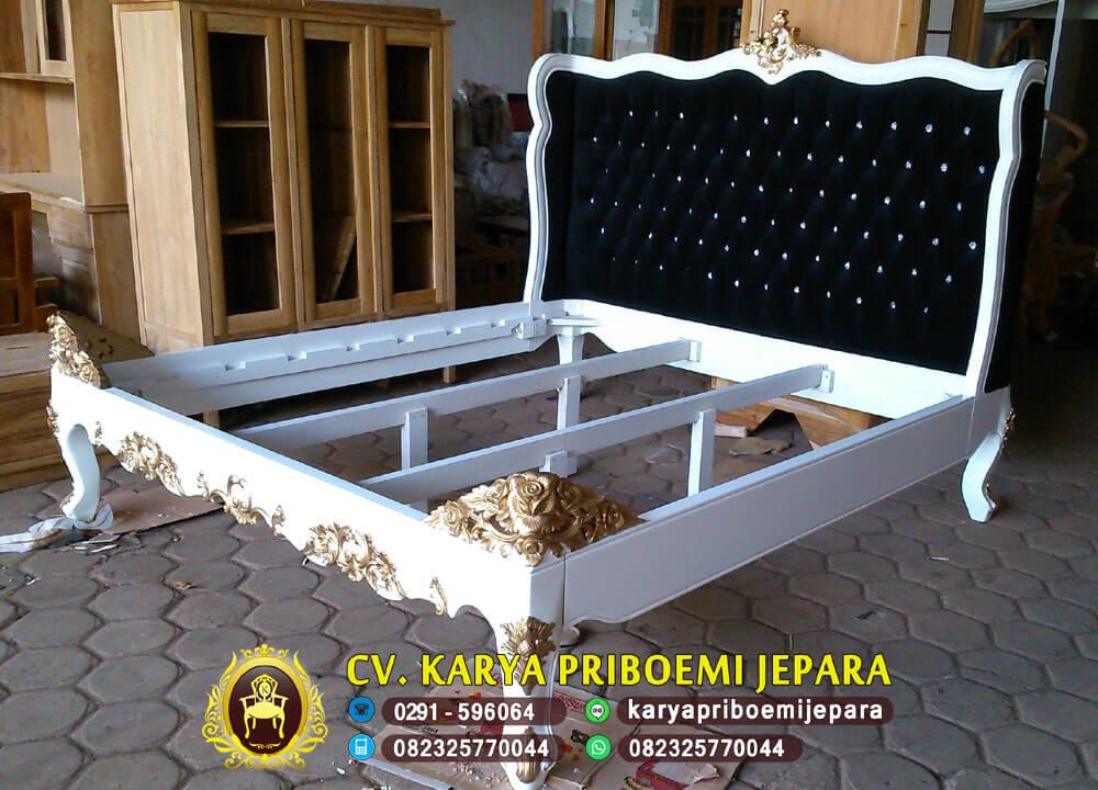 Tempat Tidur Mewah Klasik Moden Putih Emas