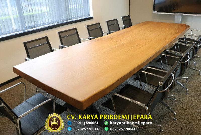 Meja Meeting Kayu Trembesi Kayu Besar