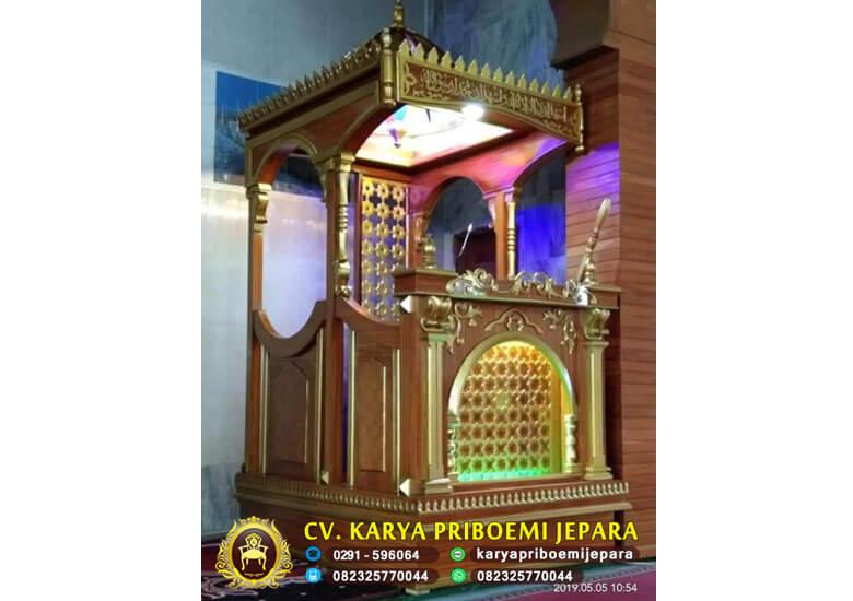 Jual Mimbar Masjid Jati Ukir Terbaru