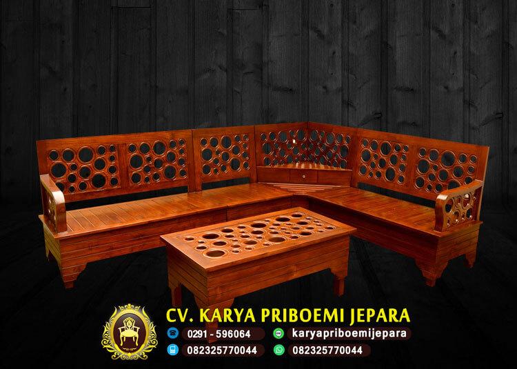 Kursi Tamu Sudut Minimalis Kayu Jati Jepara Murah