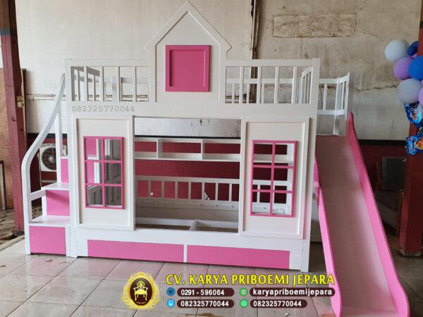 Tempat Tidur Anak Perempuan Tingkat Warna Pink