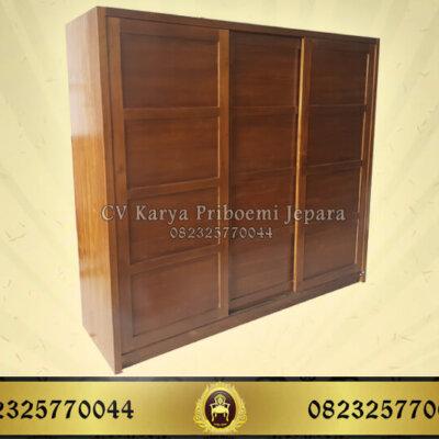 Lemari Pakaian 3 Pintu Sliding Minimalis Kayu Jati