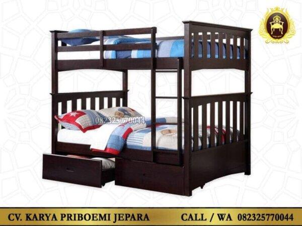 Tempat Tidur Tingkat Minimalis Kayu Jati Jepara