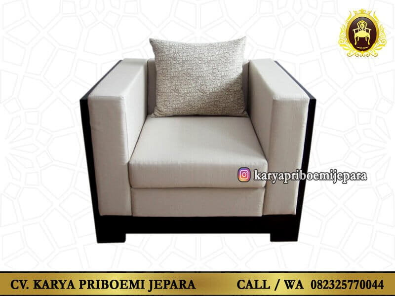 Kursi Tamu Minimalis Modern Terbaru Kayu Jati Single Seat