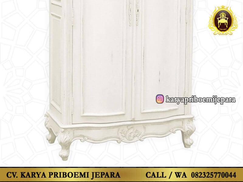 Lemari Pakaian Putih Ukir Jepara Detail Kaki Kaki