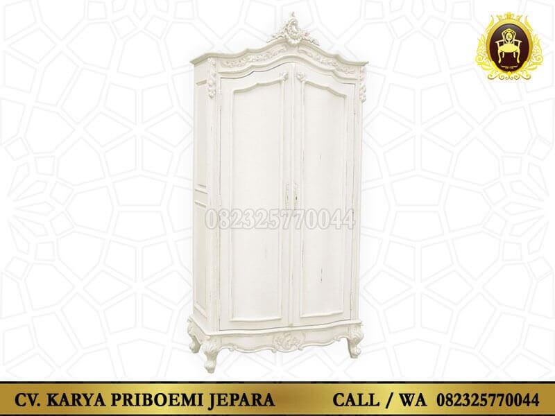 Lemari Pakaian Putih Ukir Jepara