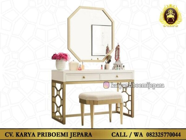 Meja Rias Martha Putih Emas