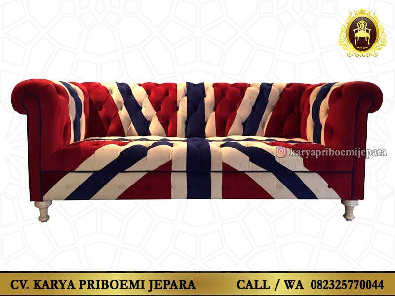 Sofa Chesterfield Inggris Union Jack Asli Jepara Murah