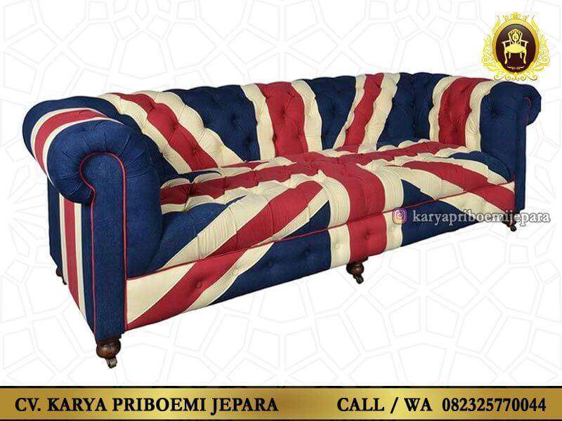 Sofa Chesterfield Inggris Union Jack