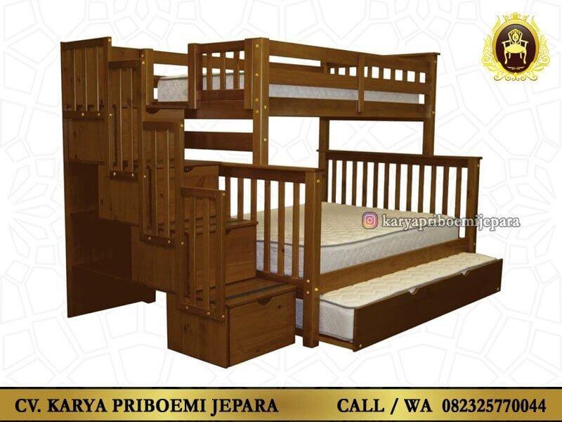 Tempat Tidur Tingkat Tiga Kasur Jati Jepara