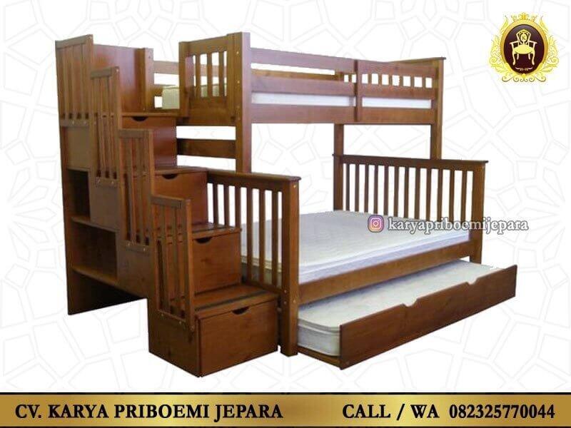 Tempat Tidur Tingkat Tiga Kasur Kayu Jati